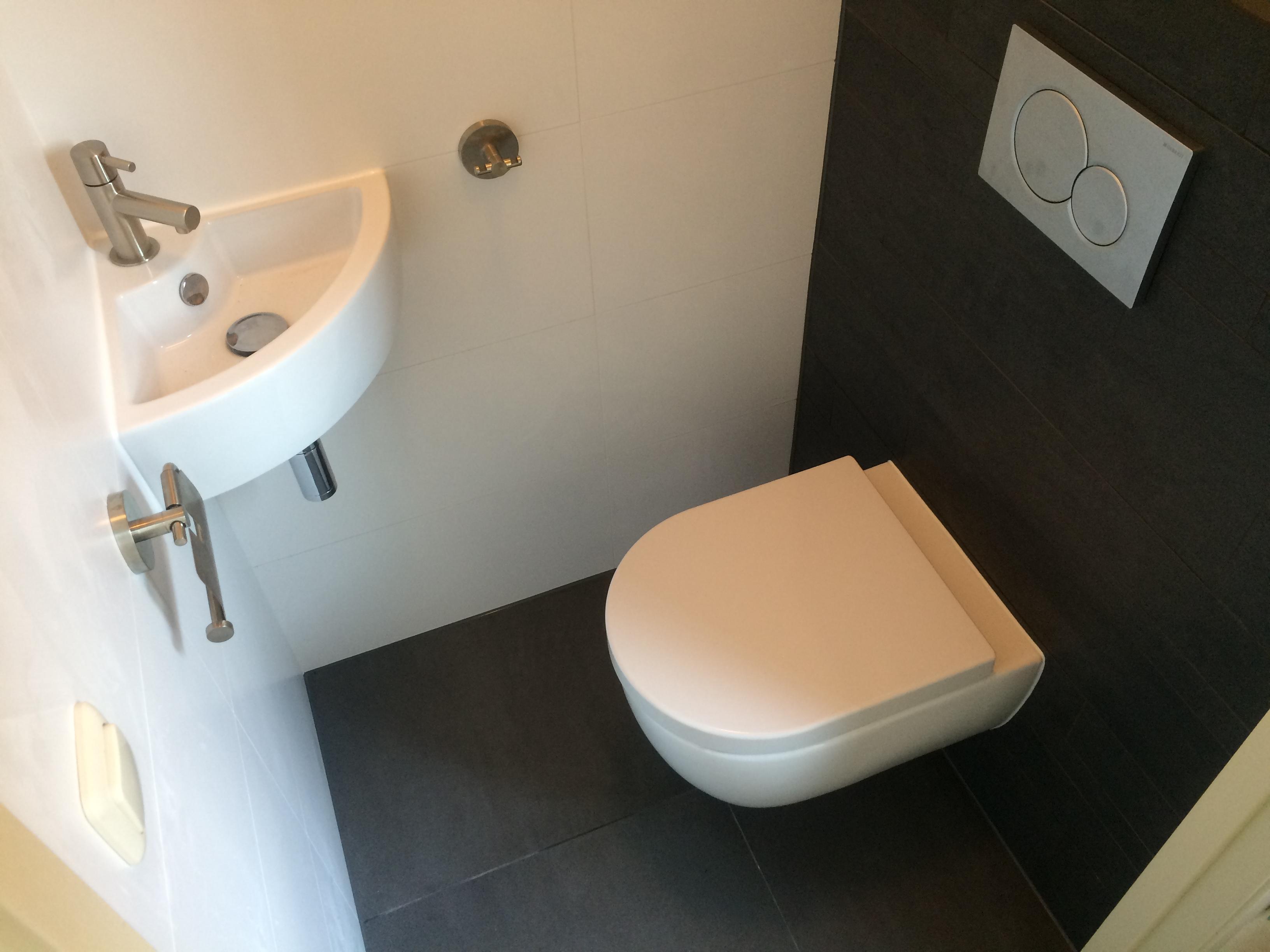 Complete toilet renovatie sanitair tegels en toilet accessoires - Muur tegel installatie ...